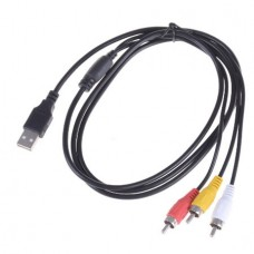 3 RCA to USB 2.0 Male A Composite Adapter Audio Vi...