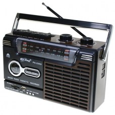 YUEGAN YG-333U Portable Retro Radio Cassette Recorder FM/AM/SW1-2 USB/SD (Black Brown)