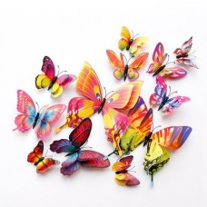 3D Butterfly Double Layer Wings Wall Sticker Magnet (PVC) (12pcs) (Multicolor) (OEM)