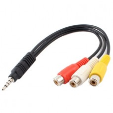 3.5mm Male Plug to 3 RCA Female Audio Video AV Cab...