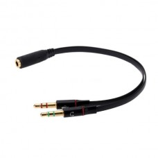 3.5mm Female to 2 Male Adapter Cable (Black) (OEM)