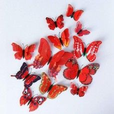 3D Butterfly Double Layer Wings Wall Sticker Magnet (PVC) (12pcs) (Red) (OEM)