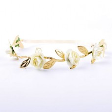 Floral Crown Fashion Flower Headband for Girls (Wh...