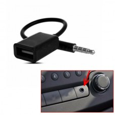 USB Female to AUX 3.5mm Male Jack Plug Audio Data Charge Cable (Black) (OEM)